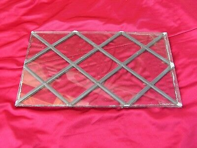 Reclaimed Leaded  Glass From A Door Size 7 3/8Ins X 12 5/8Ins X 1/4In Thick