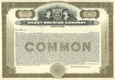 1St Publicly Traded Pabst Brewing Stock (1910) Huge, Rare, Pristine Work Of Art!