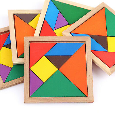 Wooden IQ Game Jigsaw Intelligent Tangram Brain Teaser Puzzle Baby Kid Toy Newly