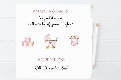 personalised new baby girl card new arrival daughter congratulations