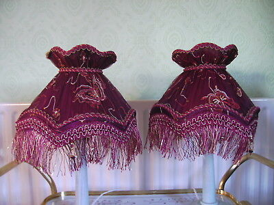 Vintage Downton Abbey Style Pair Red Table Lamp Shades Trimmed Fringe and Braid