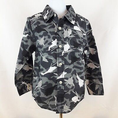 Boys Healthtex Camo Camouflage Gray Shirt Button Up Helicopter Jet Airplane Sz 4