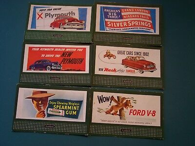AUTO AD CARDS SIX NATIONAL CARDS 4 by 3 inches each