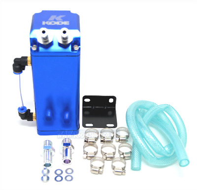 Blue Universal Aluminium Square Oil Catch Tank Breather Can 9mm &15mm Fittings
