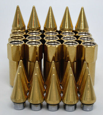 20pcs Gold Spiked Steel Wheels Rims Lug Nuts 55mm+30mm Extended Tuner M12X1.25