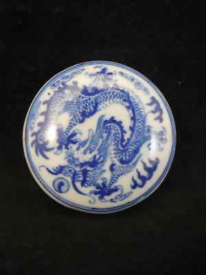 Signed Chinese Republic Period HAND PAINTED BLUE AND WHITE ANTIQUE INK PASTE BOX