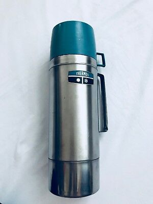 """VINTAGE 12"""" Thermos Brand Stainless Steel Quart Vacuum Bottle 2464H"""