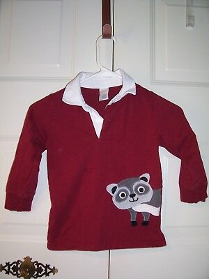 Gymboree boy's burgundy long sleeve shirt ivory collar raccoon graphic size 3T