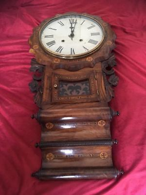 A  19th CENTURY ANGLO AMERICAN DOUBLE SCROLL  DROP DIAL WALL CLOCK