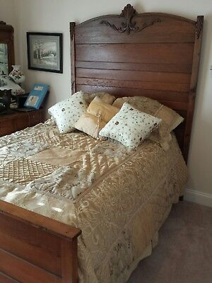 Antique oak high back bed 1800's  with brand new matress & box spring &  bedding