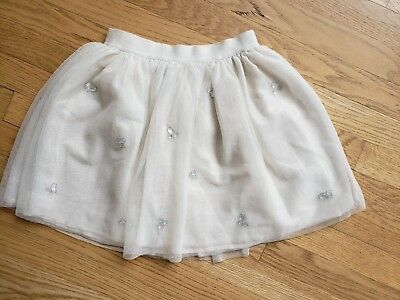 Gap Kids Girls Tulle Skirt size 8 Holiday Party Dressy Ivory with Silver Jewels