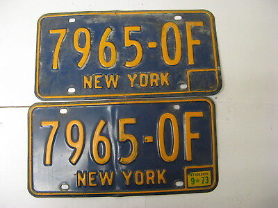 1973 73 New York NY License Plate 7965-OF Pair Natural Sticker