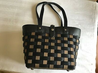 New Longaberger Womens Woven Basket Leather Purse Or Tote