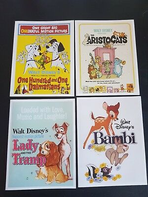 Disney Notecards Set of 4 Bambi, Lady and the Tramp, 101 Dalmations , Aristocats