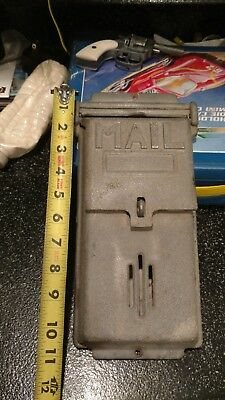 Vintage Unpainted Cast Aluminum Art Deco Style Mailbox 2 Openings 1 Lockable