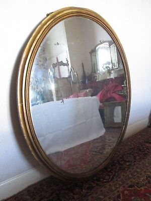 Large Period Antique Oval Wall Mirror Country House Original Glass
