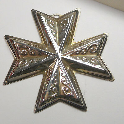 Vintage Reed & Barton Sterling Silver 1977 Christmas Cross Ornament With Box