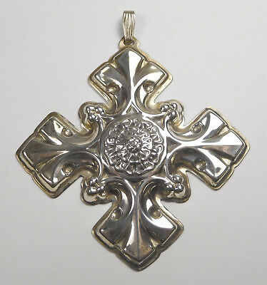 Vintage Reed & Barton Sterling Silver 1976 Christmas Cross Ornament With Box