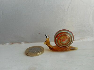 Snail  Miniature Glass Snail - Unusual Colourful- Golden Brown, Red/green/white