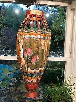 RARE ANTIQUE VINTAGE CHINESE EXOTIC WOOD FABRIC LANTERN VERY UNIQUE  Not Paper