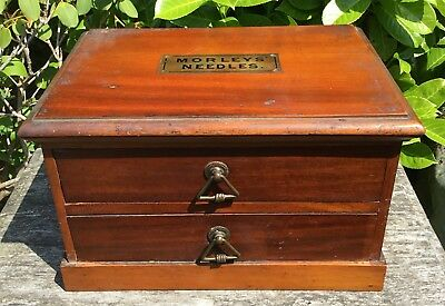 Old Vintage Mahogany Morley's Needles Haberdashery Collectors Work Box Drawers