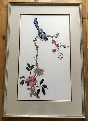 Large Vintage Chinese Bird Framed Tapestry Needlepoint Embroidery Picture