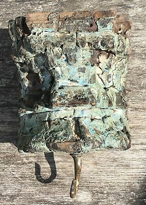 Vintage Rustic Distressed Blue Painted Wood Wall Sconce Candle Holder & Hook 2