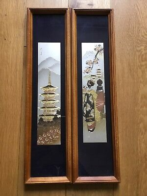 Pair Of Vintage Japanese Mixed Metal Plaques Pictures Signed Framed