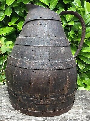 Old Early Antique French Large Wooden Staved & Iron Wine Jug Pitcher For Display