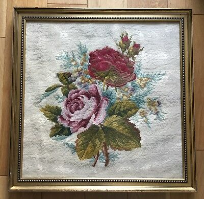 Large Vintage Rose Floral Flowers Framed Tapestry Needlepoint Embroidery Picture