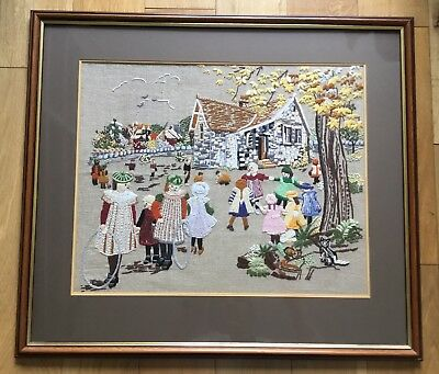 Large Vintage Children Playing Framed Tapestry Needlepoint Embroidery Picture