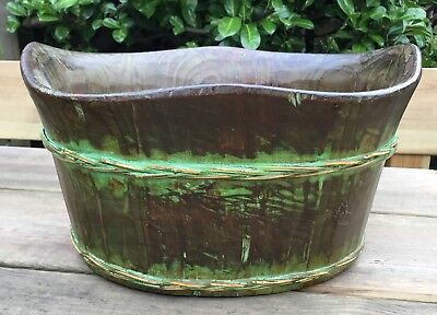 Old Vintage Oval Wooden Storage Basket Bowl Trug Pot Planter Bucket
