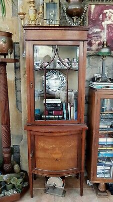 Antique-Victorian-Mahogany/Rosewood/Marquetry Inlaid Shelf Display Cabinet-c1880