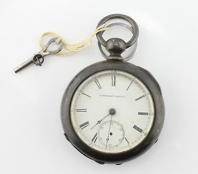 Elgin Antique Pocket Watch Heavy Coin Silver Case Wheeler Kw/ks 18S 11J #3474-1