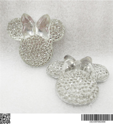 5 x 28MM GLITTER CLEAR MINNIE MOUSE HEAD + BOW FLAT BACK RESIN HEADBANDS BOWS
