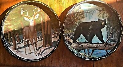 James L. Artig Vintage Metal Serving Trays Bear Waterfall & Deer