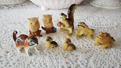 Vintage Miniature Owls,Squirrels, frogs,dogs Hard Plastic Figurines-lot 8