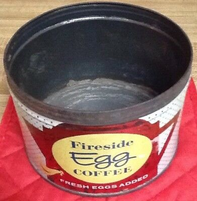 "Vintage ""fireside Egg Cofffe Tin, No Lid-Great!"