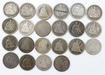Lot Of *22* U.s. Seated Liberty Silver Quarters From 1853-1877 No Res #3423