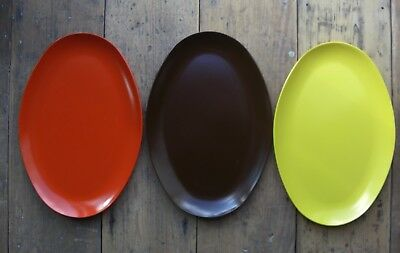 """3 Melamine Oval Plates Red, Yellow and Brown 12"""" x 8"""""""