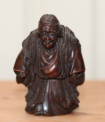 antique Japanese carved Okimono, Netsuke Quality, Noah actor, 19th Century RARE