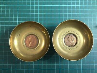 Pair heavy Brass Trays with Victoria and Elizabeth penny inserts