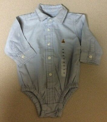 Baby Gap Blue Oxford One piece Long Sleeve Size 3 - 6 months