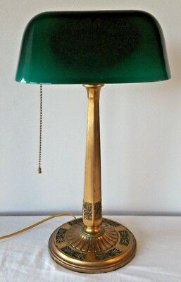 Antique AMRONLITE Brass BANKER'S LAMP Art Deco Painted EMERALITE Green Shade 17