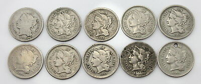 Lot Of **10** 1865 U.s. Three Cent Nickel Coins No Reserve #3441