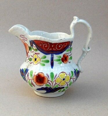 19thC Gaudy Welsh Jug ~ Cornucopia Pattern ~ Glamorgan Swansea ? / Antique