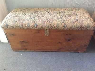 Antique wood ottoman, chest, with padded seat