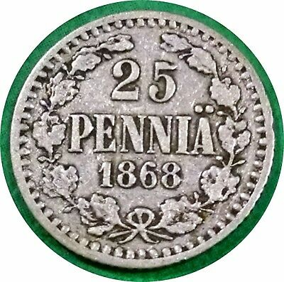 1868 Finland 25 Pennia Under Russia ~ Very Rare Date & Lowest Mintage Of Issue
