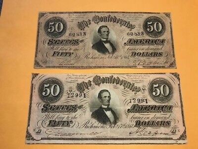 50 Dollar Confederate States bills. Two, from 1864
