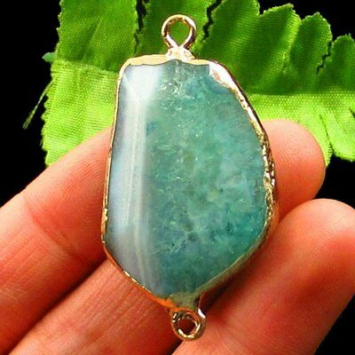 Gold Edge Faceted Green Druzy Geode Agate Pendant Bead 45x28x8mm L01882